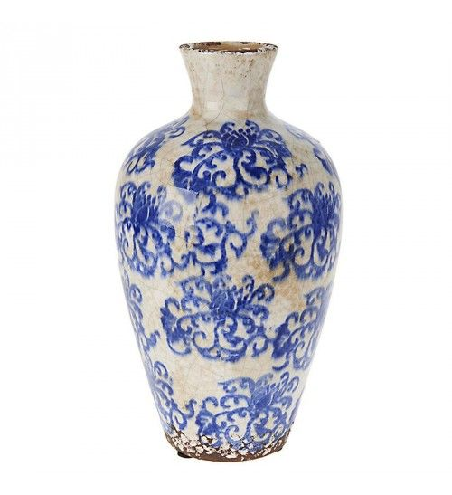 CERAMIC VASE W_BLUE FLOWERS 15X15X27