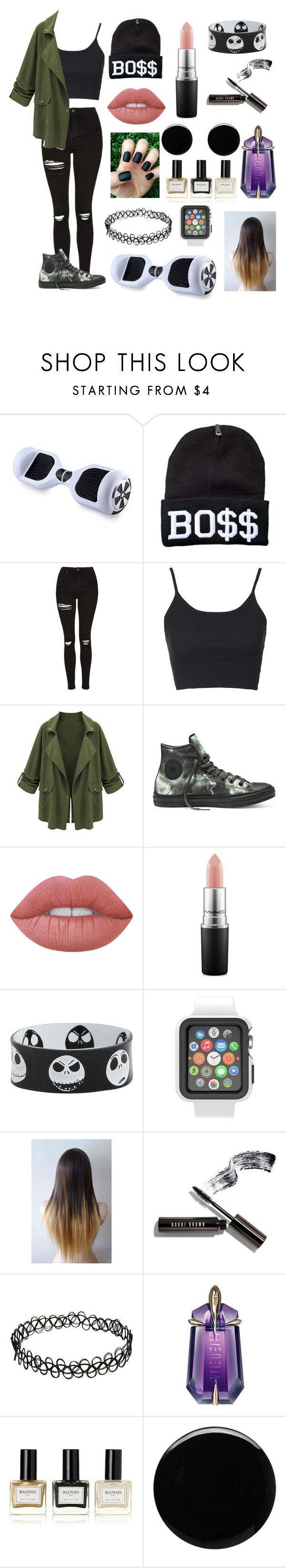 """Sophiek82"" by candyfrost on Polyvore featuring Topshop, Converse, Lime Crime, MAC Cosmetics, Speck, Bobbi Brown Cosmetics, Thierry Mugler, Balmain and Deborah Lippmann"