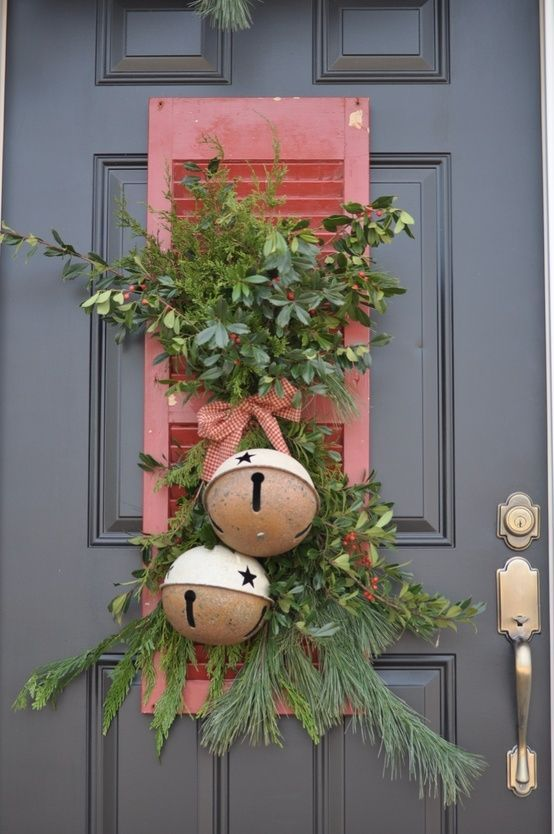 """Old shutter used as the base for a Christmas door """"wreath,"""" but Lil Sister thinks this would look really charming indoors, too! If you don't have an old shutter, buy an inexpensive new one, and just paint it & age it yourself!"""