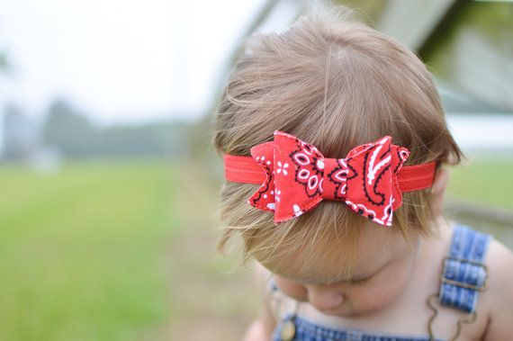 Red Bandana Bow  Red Bandana Headband  Red Bow by HaleysBows