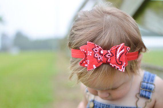Red Bandana Bow  Red Bandana Headband  Red Bow by HaleysBows