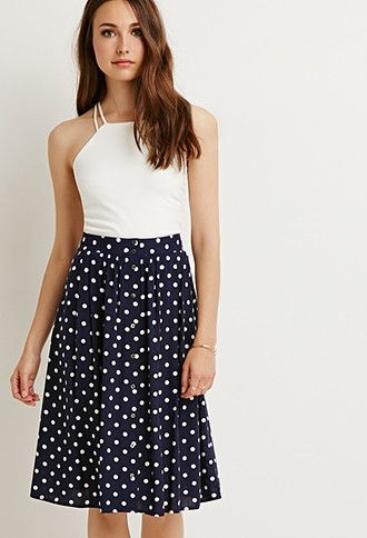 Buttoned A-Line Dotted Skirt | Forever 21 - 2000183528