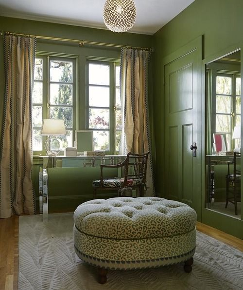 Green walls, door and trim, with green leopard. Once again, I wish I had the guts.