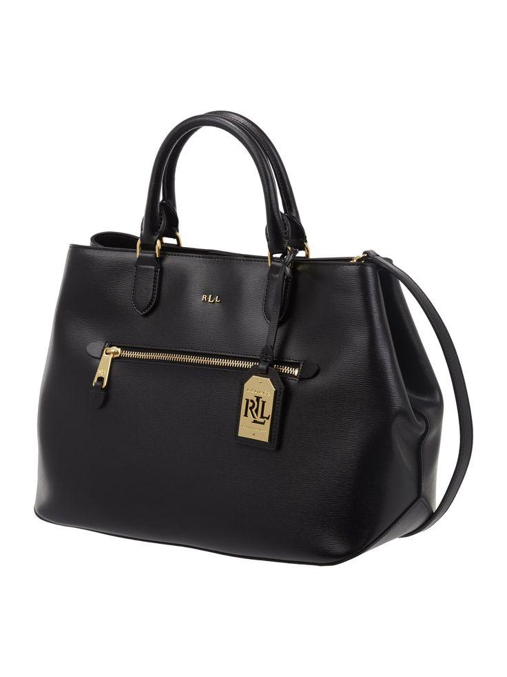 LAUREN-RALPH-LAUREN Shopper aus Leder mit Frontfach in Grau / Schwarz online kaufen (9654878) » P&C AT Online Shop