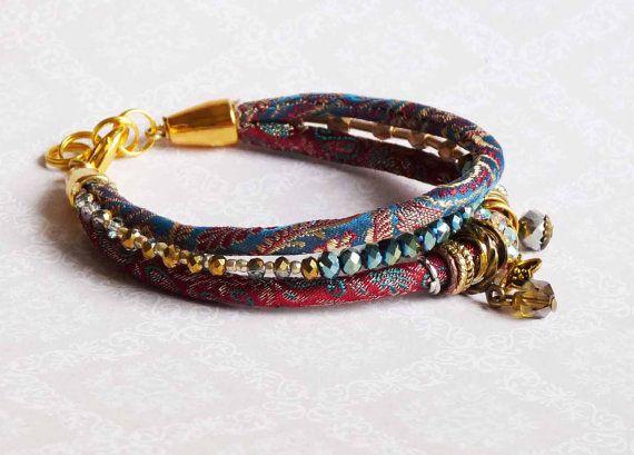 Rosso braccialetto blu broccato di seta pura di Kashmir