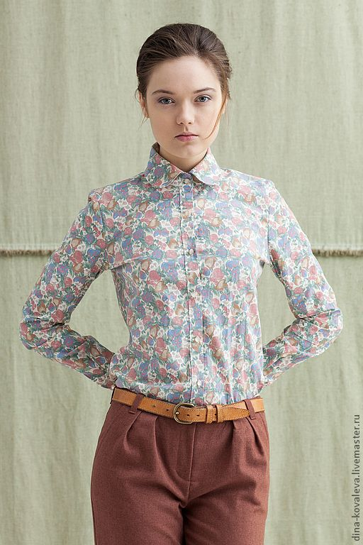 Fasion Look. Рубашка с сердечком - кремовый, цветочный, рубашка, блузка, сердце, нежность, винтаж, яблоки, весна