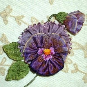 French Ombre Ribbon Pansy with Bud and Picot edged Ribbon Detail
