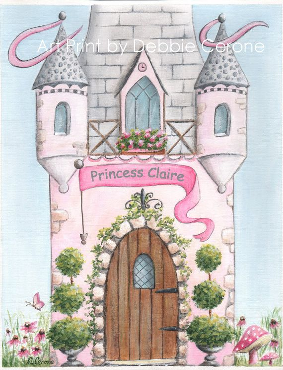 Pink Princess Castle print that can be personalized with your Princess's name! 11 X 14""