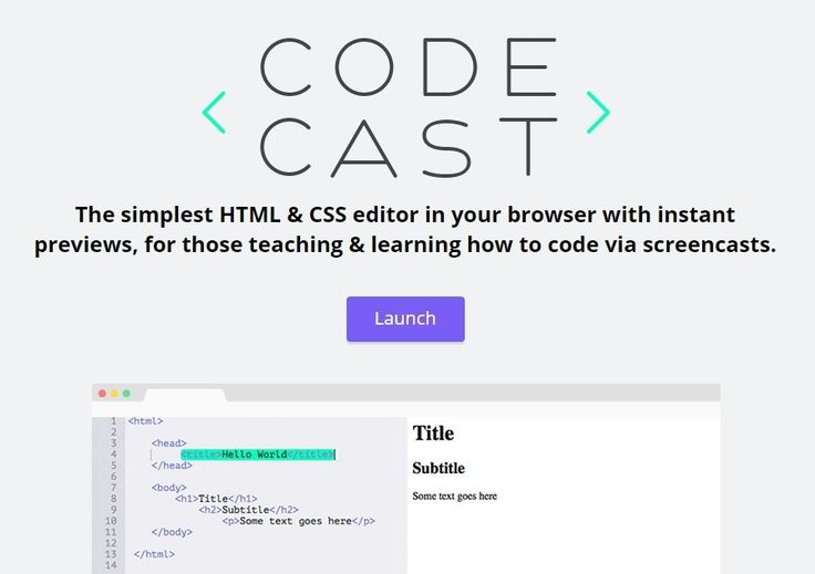 CODECAST HTML & CSS editor in your browser with real