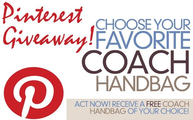 Attention Pinners!!! Coach is giving away Free bags for users only. Hurry Up! (Participation Required. See Details) Get yours here: http://coachgiveaway.tk