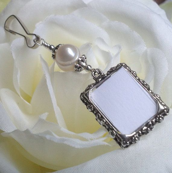 What a thoughtful way to be remembered: Wedding bouquet photo charm with Freshwater pearl by SmilingBlueDog, $8.99