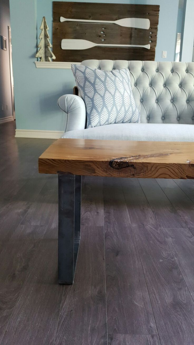 Rustic Reclaimed Wood Bench with raw steel legs