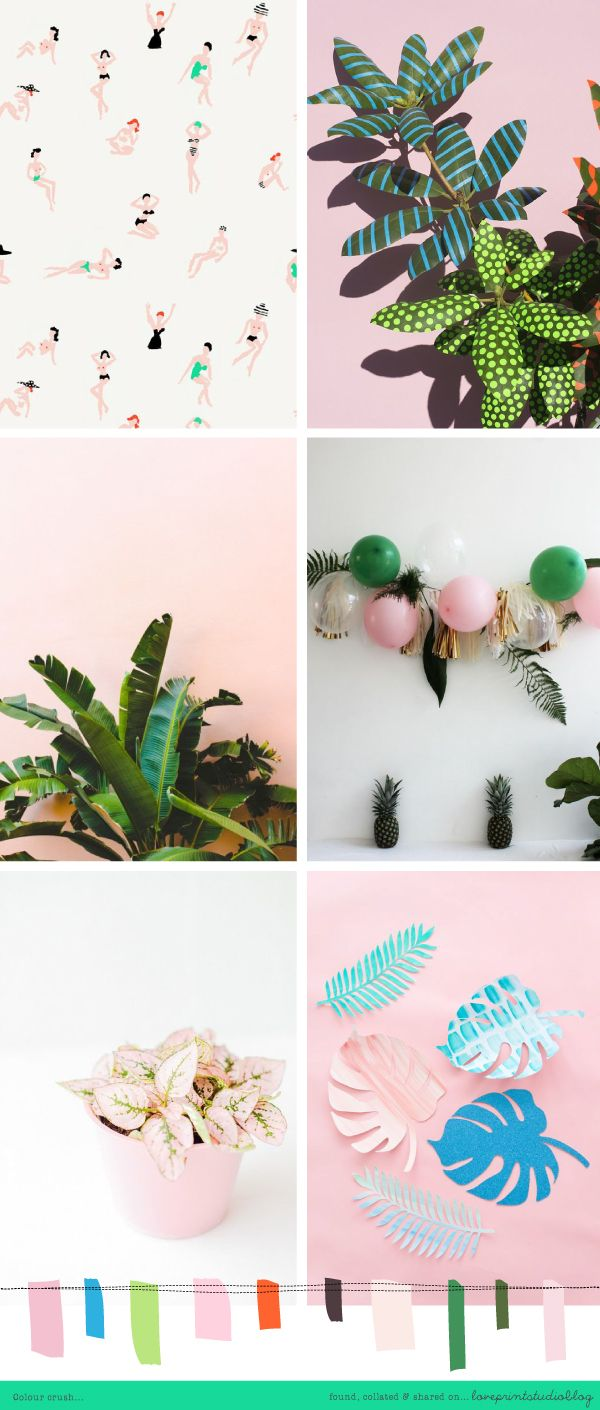 A much needed summer vibe going on in todays colour crush post...  Loving those greens with the pink tones.   Oooh tropical!  A slight cont...