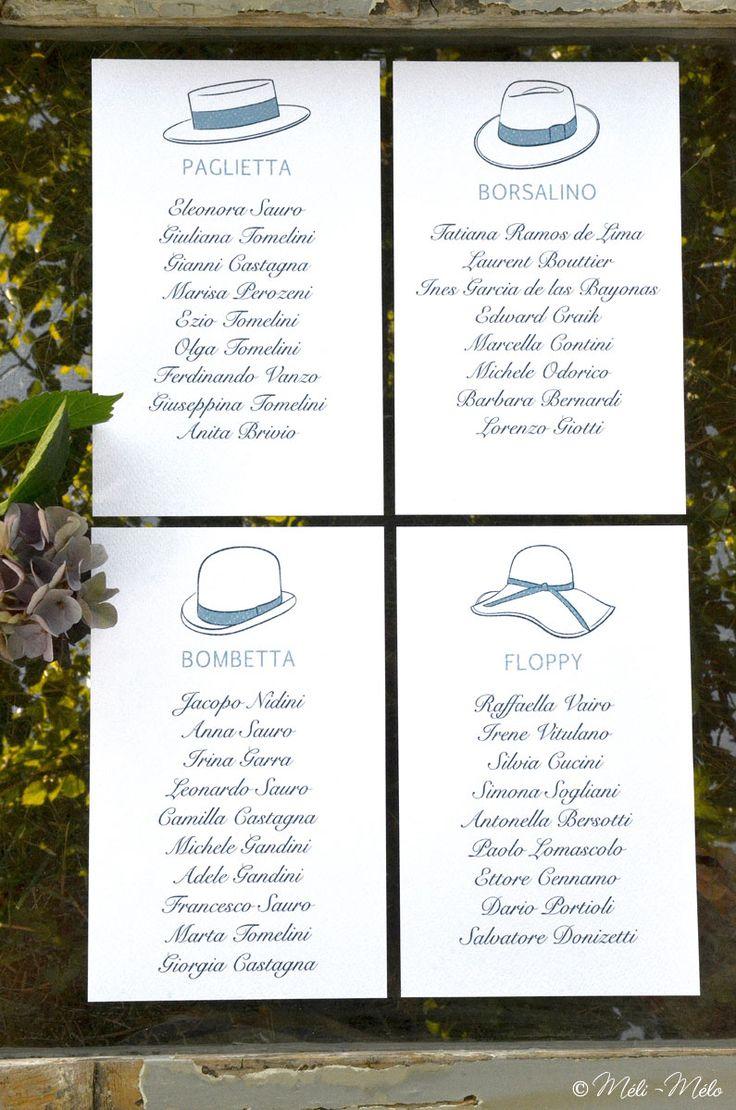Distribuzione dei tavoli per tableau de mariage per le nozze di Jessica e Alberto - Plan de table, mariage de Jessica et Alberto - Seating chart for Jessica and Alberto's Wedding by Méli-Mélo | Graphic Design - Ph: Clelia Celentano