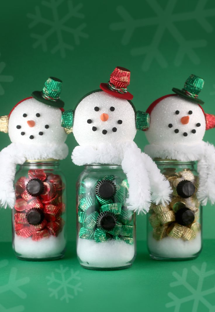 Snowman treat jars -- fun and simple gift idea for chocolate lovers.