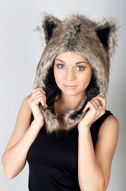Beast Hat Snow Wolf C faux fur with ears by PertlyBeast on Etsy, €32.99