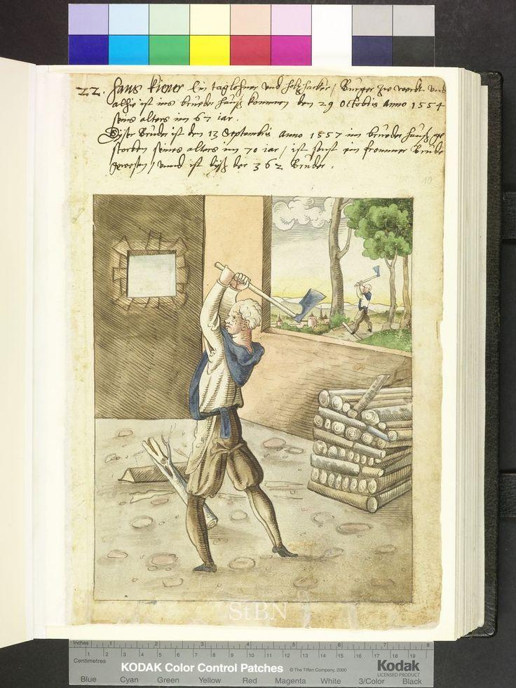 1557 German, woodcutter with axe  Die Hausbücher der Nürnberger Zwölfbrüders…