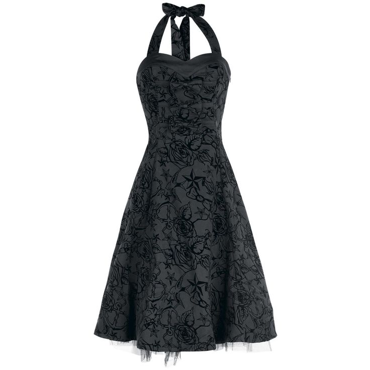 Superbe robe mi-mollet, style années 50.  - avec fermeture zippée sur le côté - motifs floqués - longueur dos env. 83 cm.