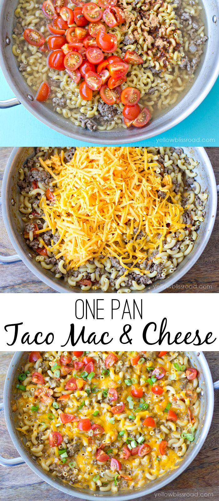 One Pan Taco Macaroni and Cheese. I used rotisserie chicken instead of beef. Excellent. This recipe makes a ton....I need to cut it in half next time.