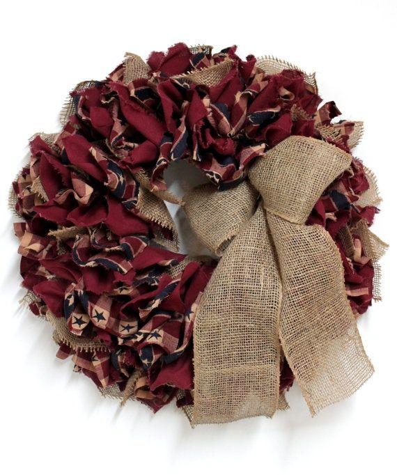 primitive fabric crafts | Primitive Fabric Rag Patriotic Wreath w/burlap bow | Craft ideas