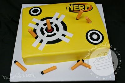 Great for boys say 6 to 10 years old, birthday cake for nerf war party