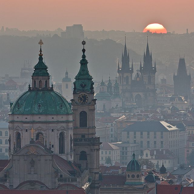 When the sun welcomes a new day in the romantique city of Prague, Czech Republic.