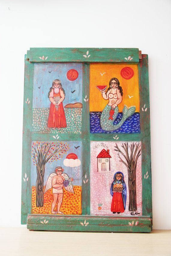 Four seasons painting large folk art by ArktosCollectibles on Etsy
