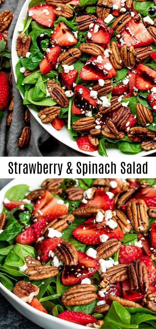 Dieser schöne Erdbeer-Spinat-Salat wird mit Balsamico-Essig-Dressing …