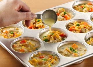 Mini Pot Pies-everyone wants something different for dinner-Mix 1/2 cup of Bisquick, 1/2 Cup of Milk, and 2 eggs together for a base. (put about 1 tablespoon in each muffin cup) Top with about 1/4 cup of any fillings you want. - Cheeseburger, Pizza, BLT, Chicken and Veggies, etc.You can mix it up in the pan (any meat should already be cooked) Then top with one more tablespoon of the Bisquick Mixture-bake at 375 for 25-30. It's a great way to get rid of your leftovers.