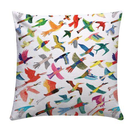Chá com Letras Bright and Colourful Birds Cushion - Trouva