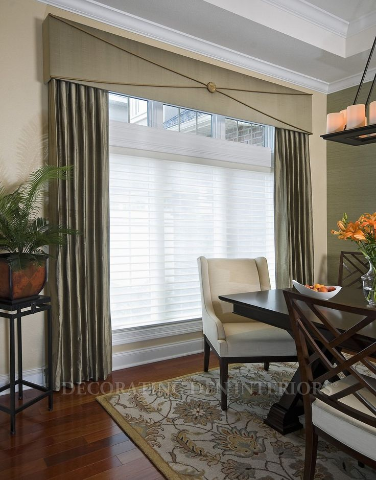 Classy-ing up a traditional window treatment with sleek cornice I Lois Pade- Decorating Den Interiors