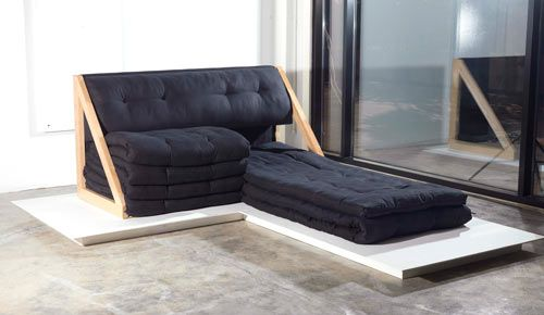 Lazy Folds is a daybed that uses an old-school cotton stuffing technique that Shafar witnessed as a child in Bur Dubai while shopping with his mother. The folded mattress is actually one giant mattress folded seven times. When extended to three folds, it transforms into a daybed.