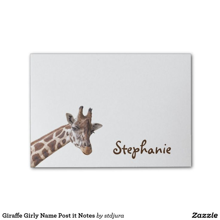 Giraffe Girly Name Post it Notes  #Giraffe #Girly #Name #Postit #Notes #office #animals #zazzle