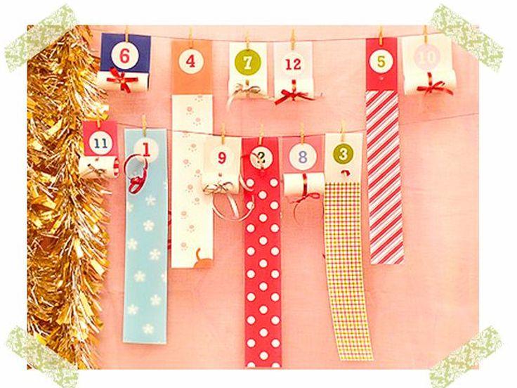 cómo hacer un calendario de Navidad con pergaminos