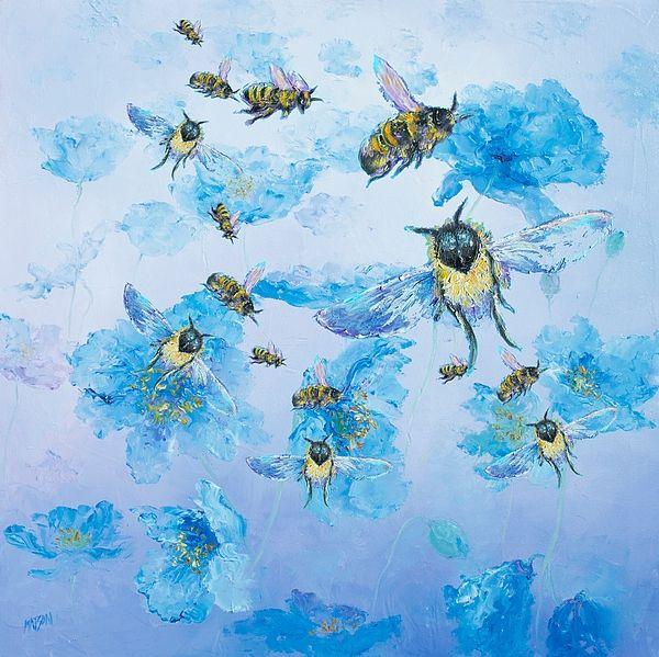 Bumble bees for kitchen decor #kitchenwallart #beepainting