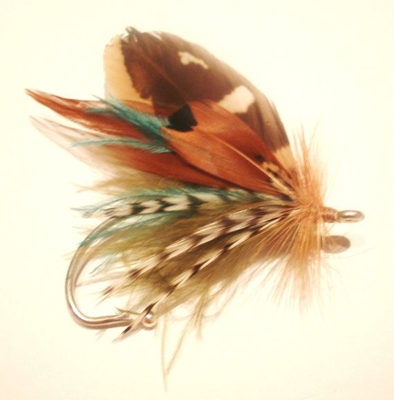 Fly fishing wedding boutonniere lure hook feather by FishFinsFlys, $17.00
