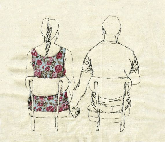 Sarah Walton: Drawings Stitches, Embroidered Illustrations, Black Thread, Art Paintings, Sarahwalton, Sarah Walton, Contemporary Art, Embroidery People, Colorrich Contemporary