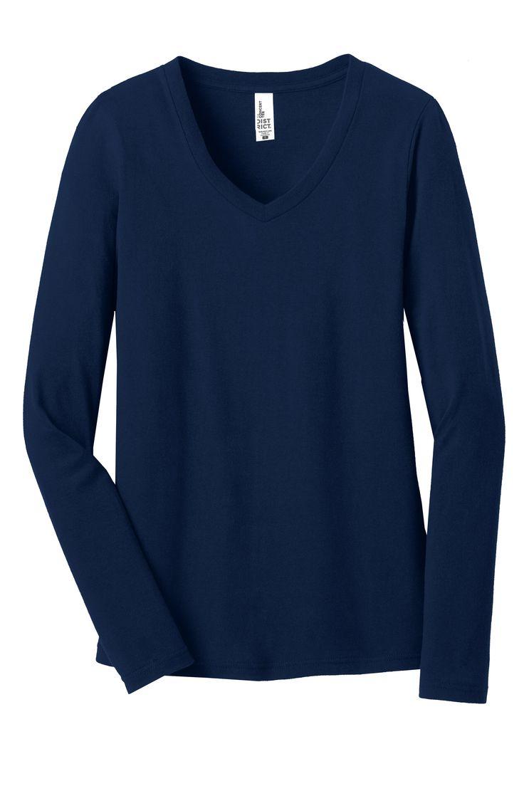 District Womens Juniors The Concert Cotton V-Neck Long Sleeve T-Shirt DT5201