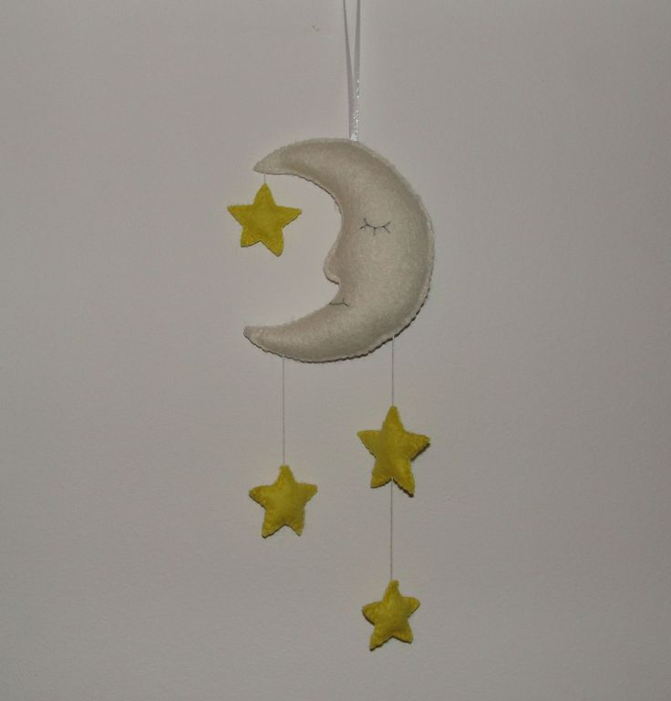 Wool Felt Moon Star Ornament, Felt Ornament, Wall Hanging, Baby Shower Gifts, Baby Decor, Babyroom Decor, Birthday Gift, Housewarming Decor by NitaFeltThings on Etsy