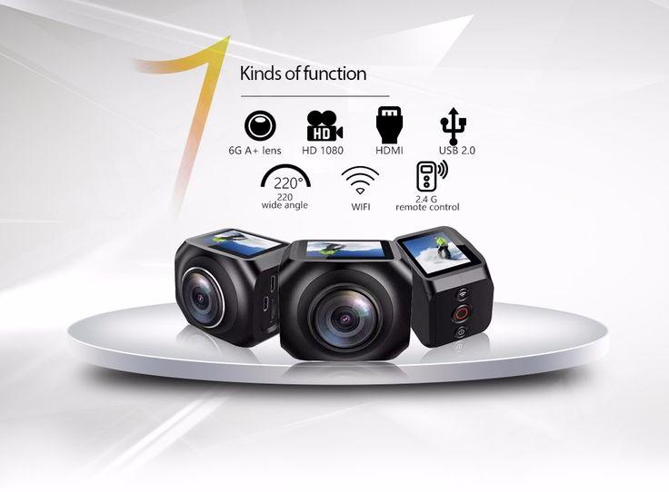Fashion Helmet Cam H360 Utral HD 4K Waterproof Camera 1.5 Inch Screen Camcorder 220 Degree Super Wide Lens Sport Action Camera