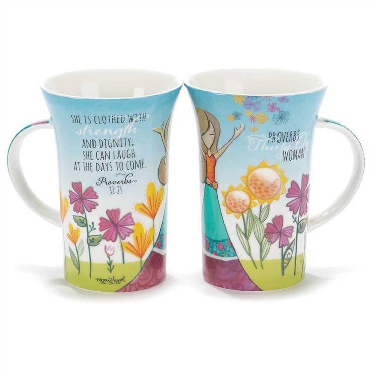 "Christian Mug - Latte Mug ""She Is Clothed With Dignity"" Prov 31"