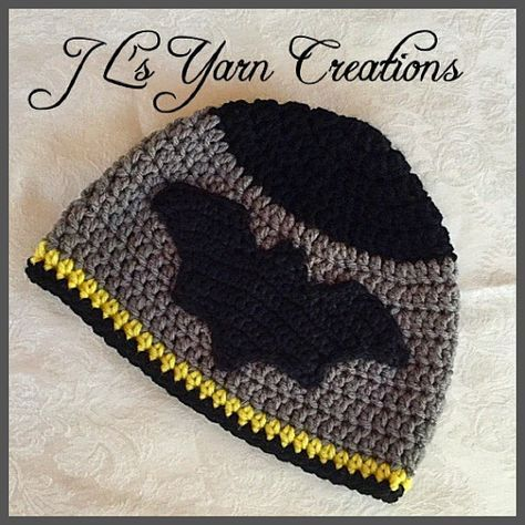 This hat is made to order. This handmade crocheted Batman hat is made of 100% soft acrylic yarn. This Batman hat would be a great gift for any