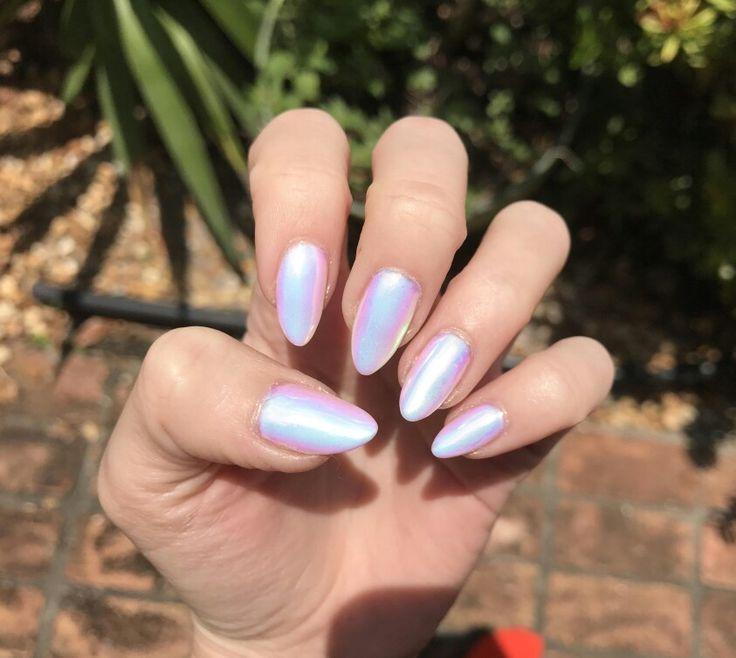 pink iridescent nails nail polish