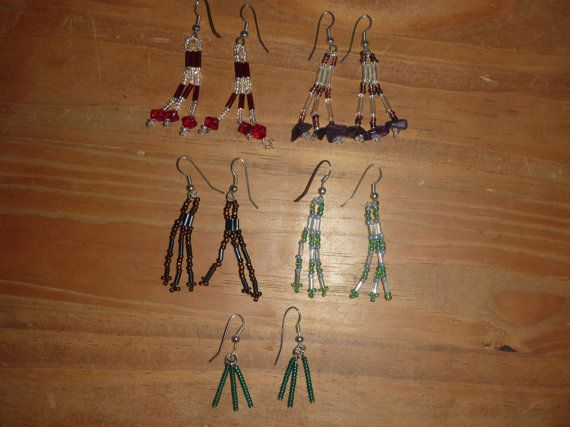 Colourful Beaded Dangly Earings by BurrowsOfAccessories on Etsy, $12.00