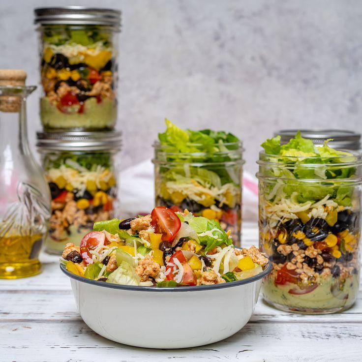 Fiesta Taco Salad-in-a-jar with Creamy Avocado + Cilantro Dressing