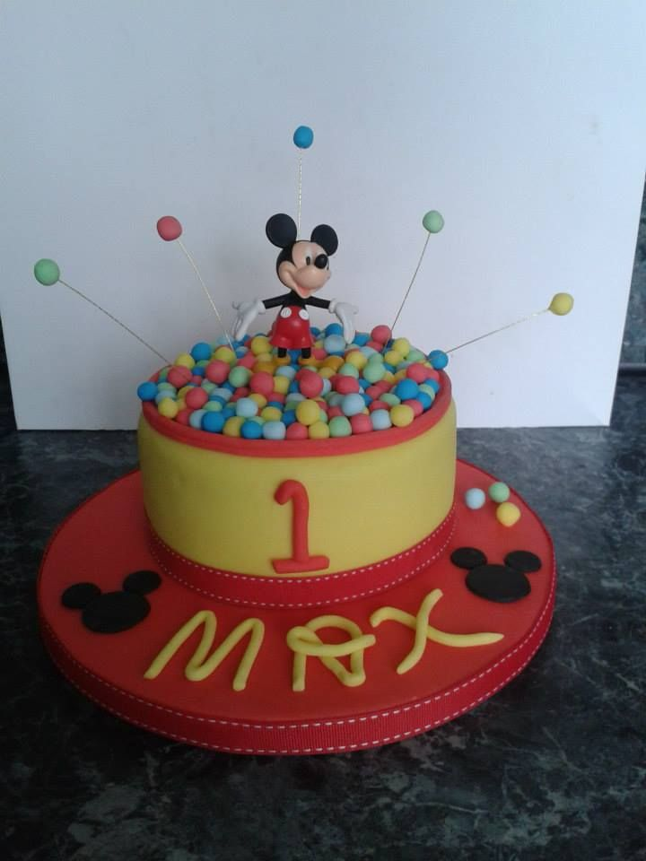 Mickey Mouse in his ball pit, chocolate fudge cake