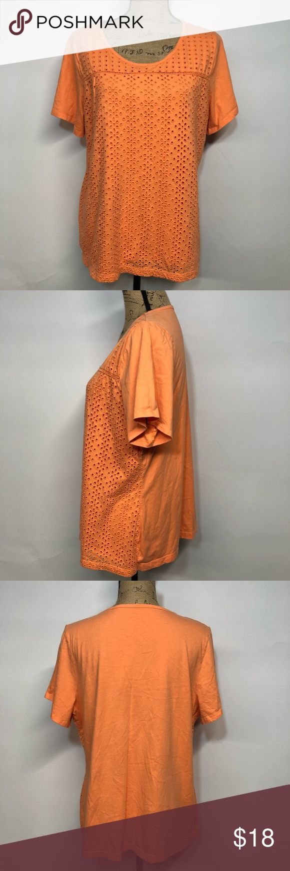 """Croft and Barrow Eyelet Front Short Sleeve Tee Posh Thrift Shop Thanks for stopping by!!! Item: Croft and Barrow Women's Plus Size 1X Eyelet Front Short Sleeve Top Orange Condition: In good used condition.  Please refer to images for more details about this item. If you have any questions please feel free to ask. All measurements are taken with the item laying and are approximate.  Armpit to Armpit: 23"""" Shoulder to Hem: 26"""" croft & barrow Tops Tees - Short Sleeve"""