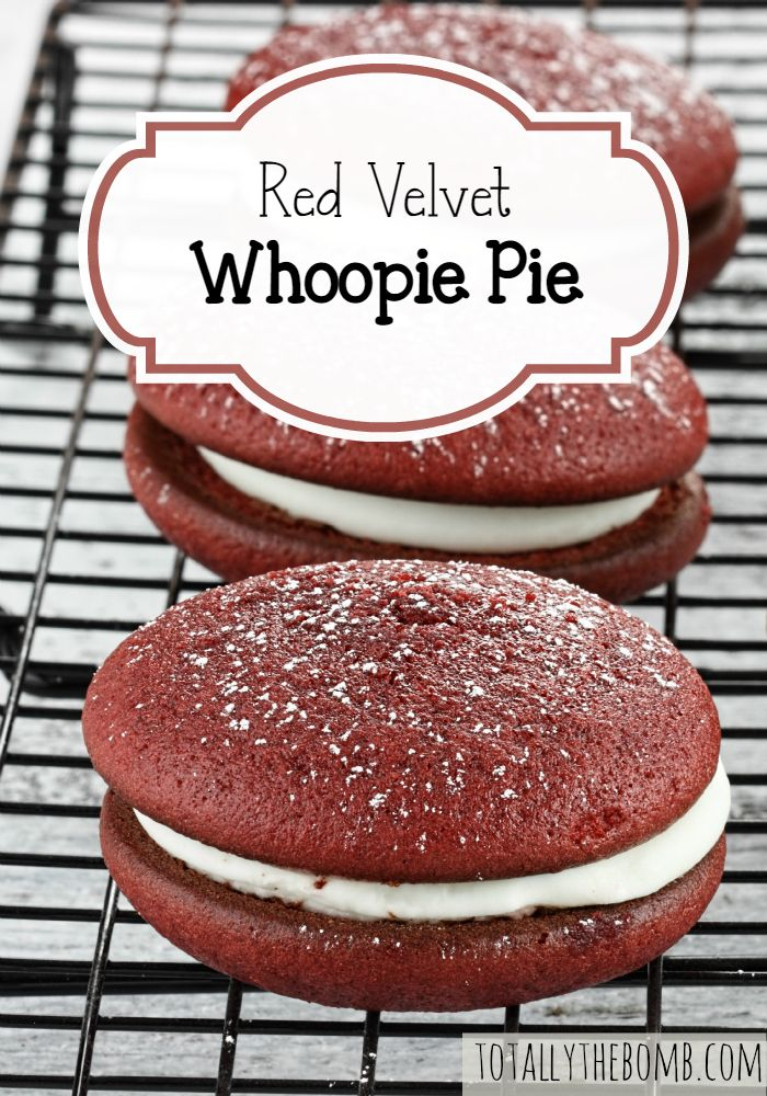 These cream-filled Red Velvet Whoopie Pies are light, fluffy, and delightful. Enjoy!