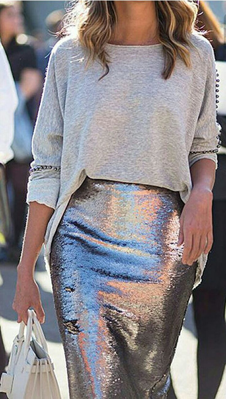 Silver + monochromatic and a dreamy skirt