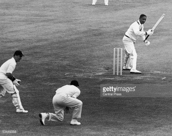 News Photo : West Indian cricketer Frank Worrell batting...
